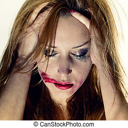 Emotional portrait of the young depression woman
