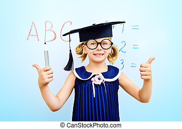 emotional preschooler - Cute little student girl in academic...