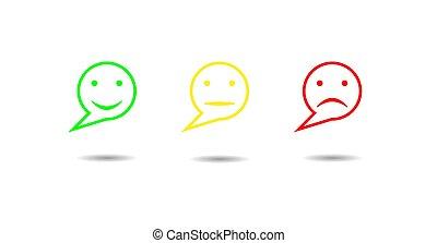 Emotional reaction-a set of three contour round colorful emoticons
