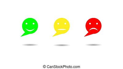 Emotional reaction-a set of three round colorful emoticons