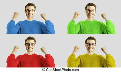 Emotional reaction funny laughing of clever hipster casual...