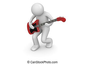 Emotional rock guitarist - 3d isolated characters on white...