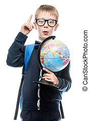 emotional schoolboy with globe has a good idea, portrait is isolated on white background