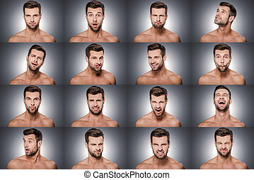 Emotional series. Collage of young shitless man expressing different emotions while standing against grey background