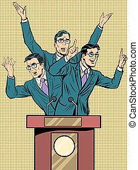 Emotional speaker at the podium pop art retro style. Policy and electoral debates. Retro vector illustration