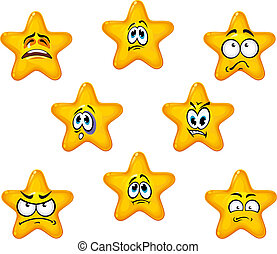 Emotional star icons with sad and negative emotions