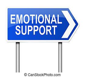 Emotional support concept. - Illustration depicting a sign...