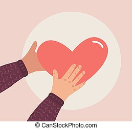 Emotional support. Hands holding heart. Vector flat empathy concept