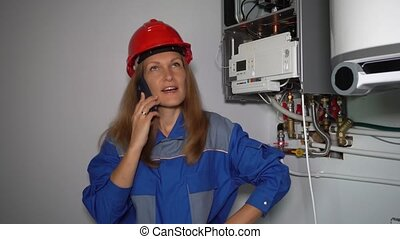 Emotional technician woman with phone calling talking client...