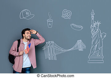 Emotional tourist feeling excited while visiting New York