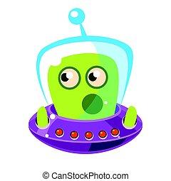 Emotionally speaking green alien in a flying saucer, cute...
