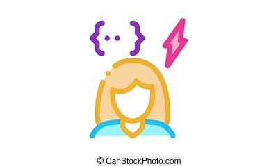 emotionally unstable woman Icon Animation. color emotionally unstable woman animated icon on white background