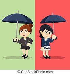 emotioneel, anders, vrouw zaak