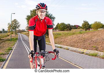 emotionell, manlig, cyklist, ridande, väg cykel, uphill.,...