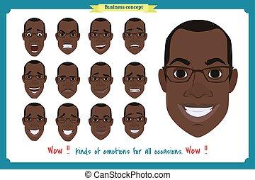 emotions., 別, アメリカ人, businessman., emoji, characters., 美顔術, vector., user., 人々, 人, セット, 喜び, expressions., マレ, 黒, 特徴, 人, 人, 男の子, 顔