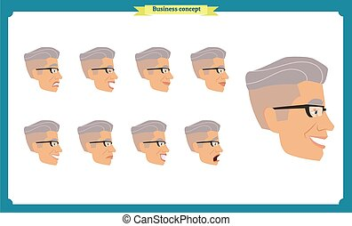 emotions., 別, businessman., emoji, characters., 美顔術, 背中, 表現, 人々, ビュー。, セット, ベクトル, 側, マレの若者, 前部, isolated., 特徴, イラスト, 人, 顔, person.