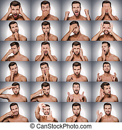 Emotions and gestures. Collage of young shitless man expressing diverse emotions and gesturing while standing against grey background