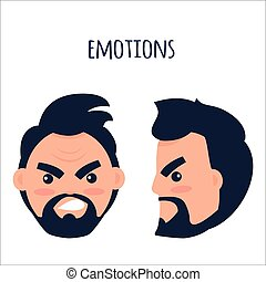Emotions. Angry Man Face Isolated Illustration - Human...