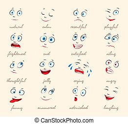 emotions., caricatura, expressão facial