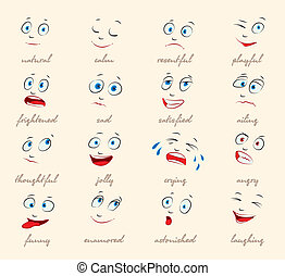 Emotions. Cartoon facial expression