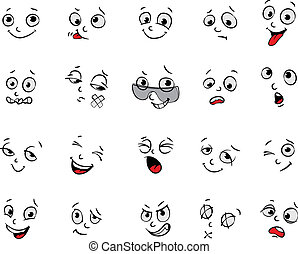 Cartoon facial expressions set - Emotions. Cartoon facial...