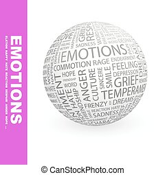 EMOTIONS. Concept illustration. Graphic tag collection....