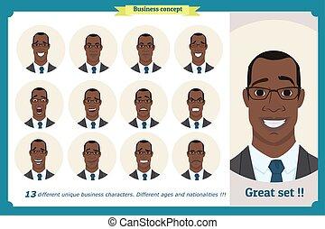 emotions., diferente, americano, businessman., emoji, characters., facial, user., pessoas, pessoa, jogo, vetorial, expressions., macho, pretas, personagem, ilustração, homem, homem, menino, caras
