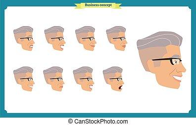 emotions., diferente, businessman., emoji, characters., facial, costas, expressões, pessoas, vista., jogo, vetorial, lado, masculino jovem, frente, isolated., personagem, ilustração, homem, caras, person.