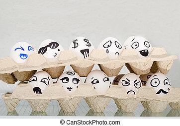 emotions:, diferente, surpresa, pintado, ovos, dois, prateleira, alegria, medo, tristeza, bandeja, refrigerador