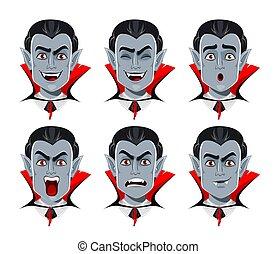 emotions., divers, expressions faciales, vampire