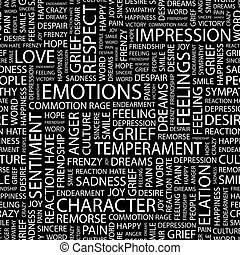 EMOTIONS. Seamless pattern. Word cloud illustration.