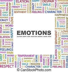 EMOTIONS. Word cloud illustration. Tag cloud concept...