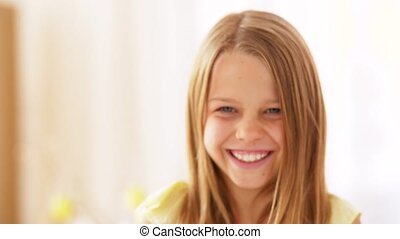 portrait of happy smiling preteen girl - emotions,...