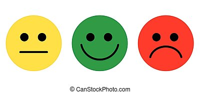 Emotions Face symbol flat vector yellow green red colour.