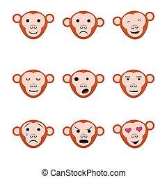 Emotions faces monkeys nine set icons