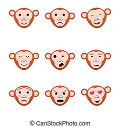 Emotions faces monkeys nine set icons