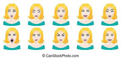 Emotions female face set.