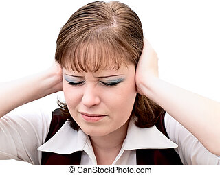Woman covering ears and closed eyes