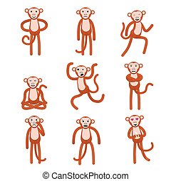 Emotions Full height figures monkeys