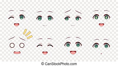Emotions green eyes of anime manga girls