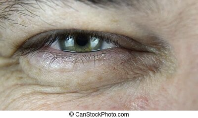 Emotions in an eye - Extreme close-up footage of a man's...