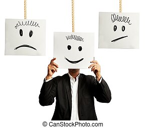 Emotions in business - Businessman selects the right...