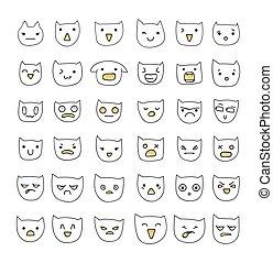 Emotions large set 36 pieces . Cat Smile. Emoji  cats.