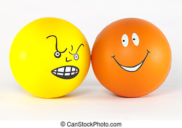 Emotions. - Negative and positive attitude - two balls.
