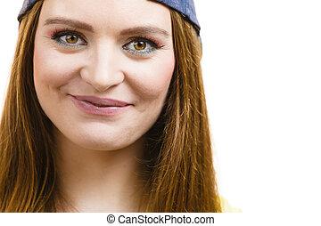Beautiful young girl smiling.