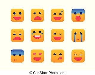 Emotions - set of flat design style icons