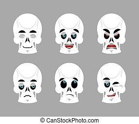 Emotions skull. Set expressions avatar skeleton. Good and evil dead. Discouraged and cheerful. Sad and sleepy. Aggressive and cute