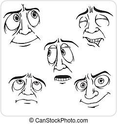 Emotions - vector set. - Emotions - Vinyl-ready vector ...