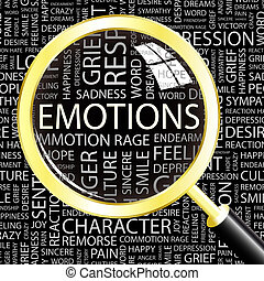 EMOTIONS. Word cloud concept illustration. Wordcloud collage.