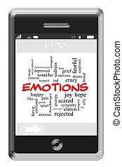 Emotions Word Cloud Concept on a Touchscreen Phone